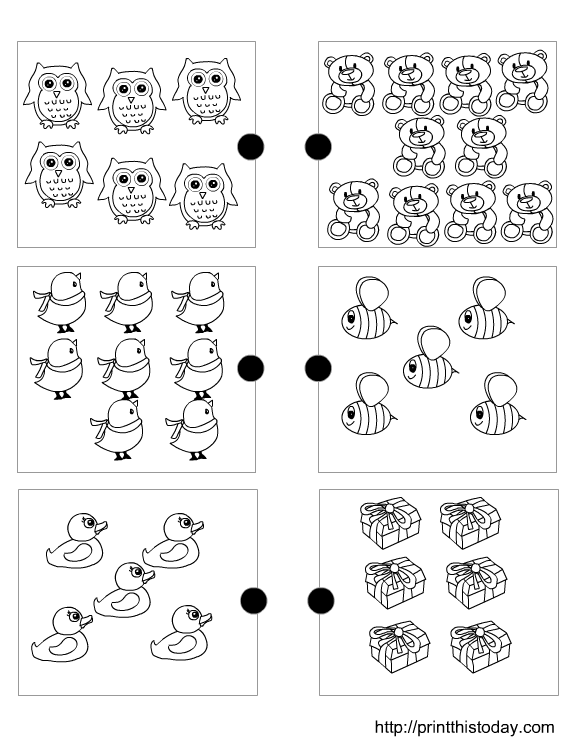 Finding the Matching Number Pre-school Maths Worksheet