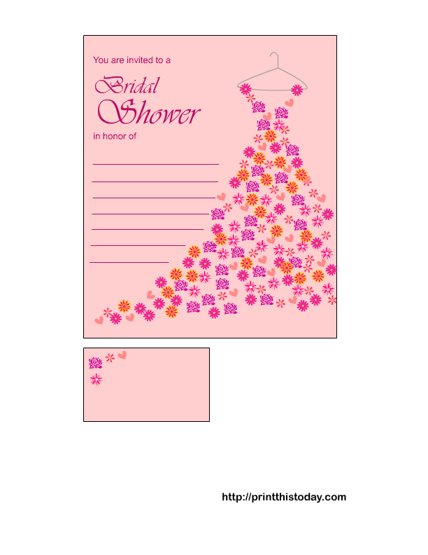 Bridal shower invitations free print at home bridal for Online wedding shower invitations
